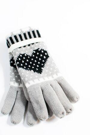 Grey gloves isolated on white background  photo