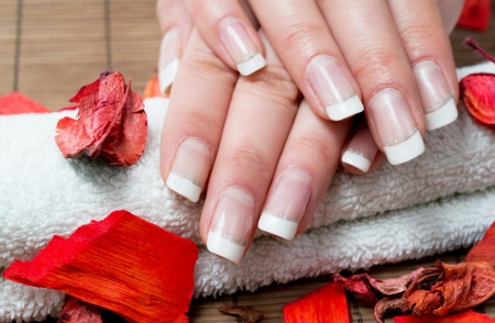 Woman hands with beautiful french manicure photo