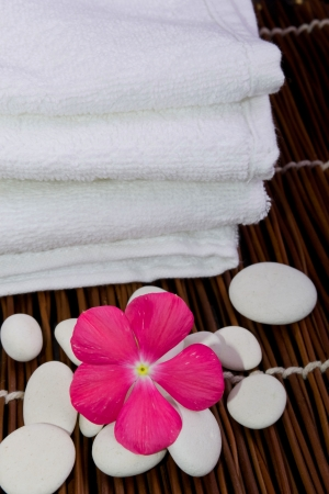 White towel and flower photo