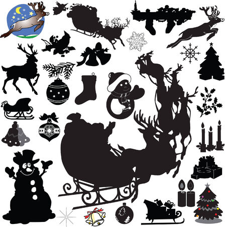 antlers silhouette: Big collection of christmas decoration1 - vector