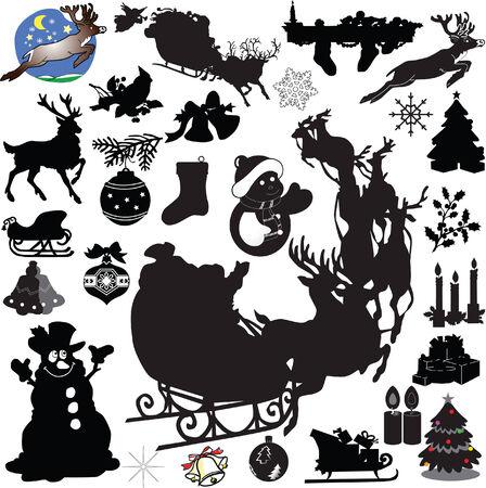 silhouette arbre hiver: Grande collection de No�l decoration1 - vecteur