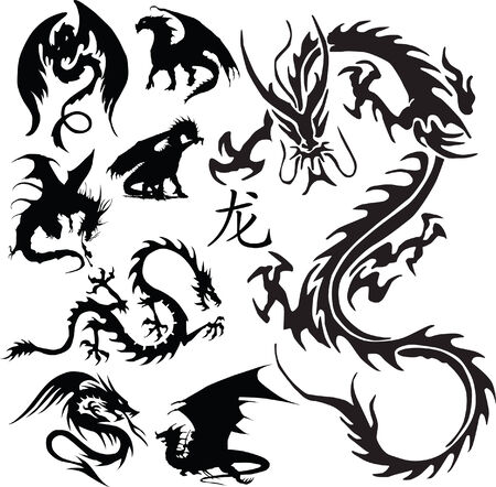 dragon silhouettes vector Stock Vector - 5948816