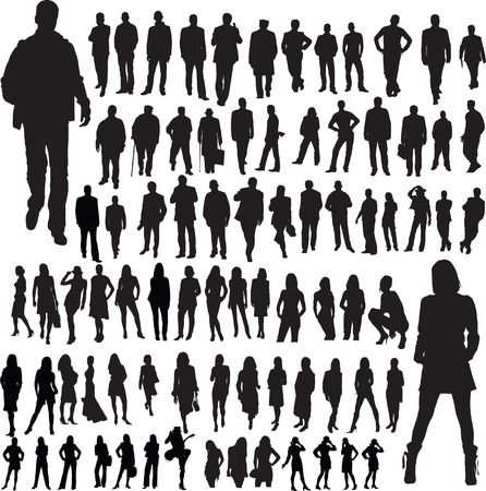 demonstrations: people mix vector silhouettes