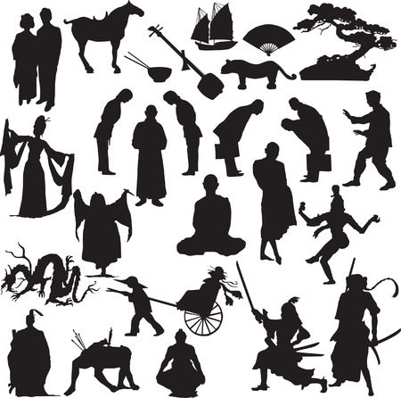 fan dance: the east vector silhouette Illustration
