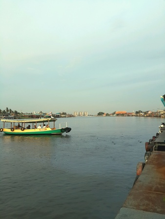 chao praya: A ferry boat on Chao Praya River in Thailand Stock Photo