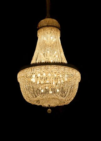 candleholders: beautiful chandelier on black ground Stock Photo