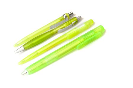 autograph: Four green plastic pens on white ground