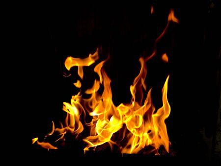 fire flames in black background photo