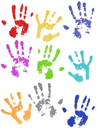 Colored hand prints on white ground photo