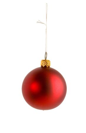 One red christmas ball on white ground