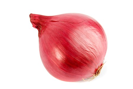 pealing: Red onion on white ground