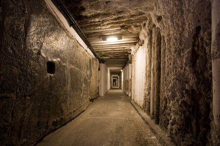 cracow: Corridor in salt mine in Wieliczka. Poland Stock Photo