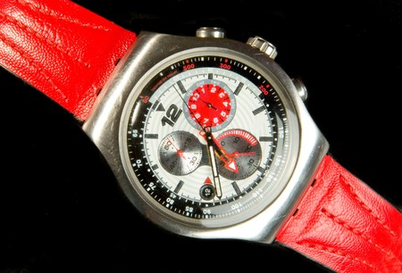 wristlet: Mens  watch with red wristlet