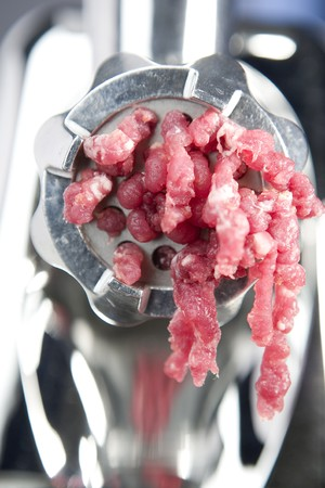 mincing: Meat grinder in action. Close up