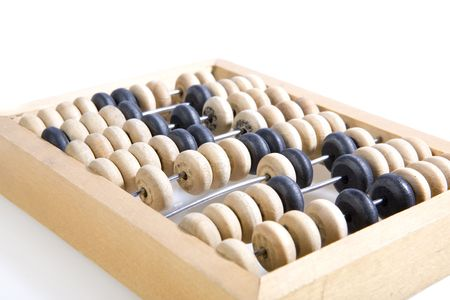 wooden abacus on white ground photo