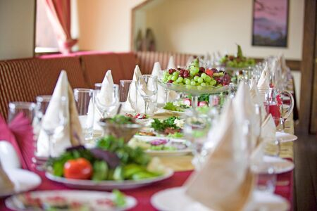 receptions: Table prepared for wedding event