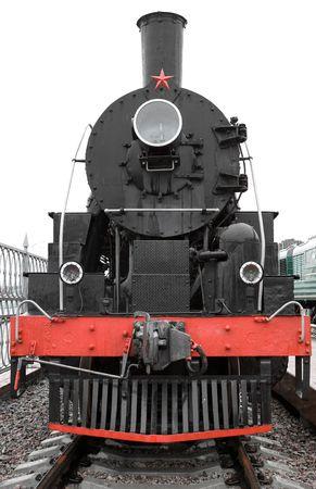 Old black locomotive front side