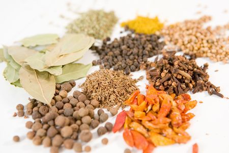 Background of different spices photo
