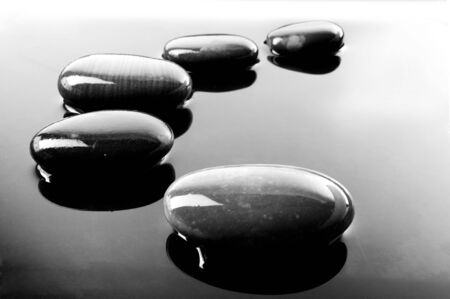 A row of shiny black pebbles in water photo