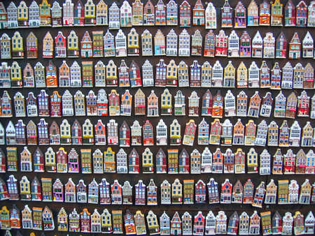 Miniature souvenirs of traditional dutch houses facades