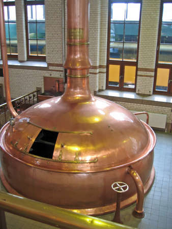 Beer vat at brewery from high up  Stock Photo