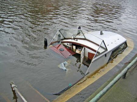 Sunken boat in an Amsterdam canal
