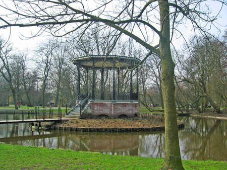 Gazebo in a park in Amsterdam Stock Photo