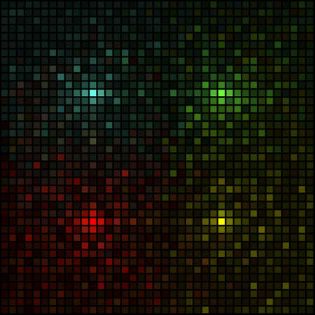 grid black background: Multicolored mosaic simulating lights