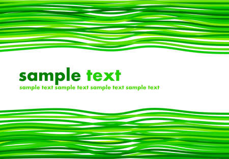 Colorful green ribbons with copy space