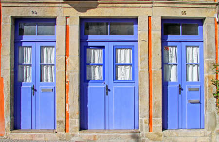 Typical old house blue doors in northen Portugal