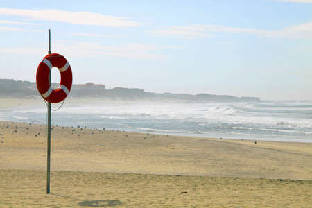 Lifebuoy on northern portuguese beach Stock Photo