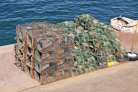 Fishing cages in Cascais, Portugal Stock Photo