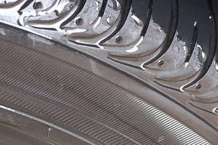 Wet tire closeup detail