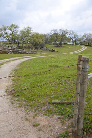 Countryside path with wired fence photo