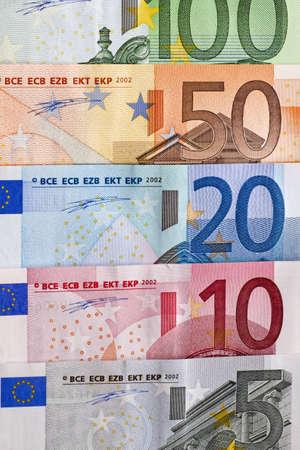 Row of Euro bills Stock Photo