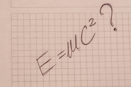 transforming: Handwritten formula for transforming mass in to a energy Stock Photo