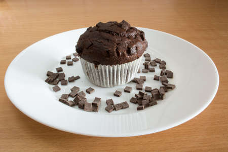 Isolated sweet chocolate cupcake in white plate. Plate and cupcakes are covered with chocolate crumbs Stock Photo