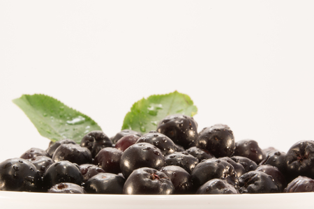 Fresh and tasty aronia in a bowl. Water droplets on fruit are visible