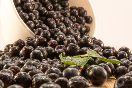 Fresh and tasty aronia spilled out of a bowl. Water droplets on fruit are visible