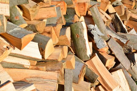 nonpolluting: Stacked winter logs for heating