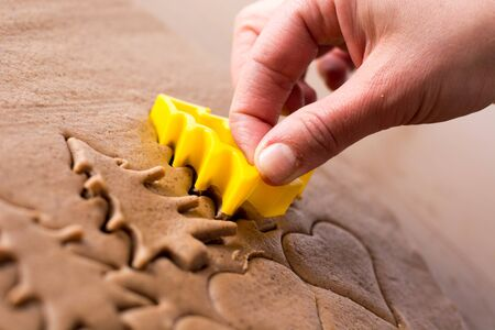 pastry cutters: Preparing easter gingerbread cookies. Steps of making pastry. Stock Photo