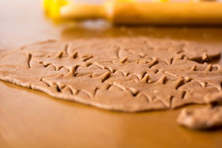 Preparing easter gingerbread cookies. Steps of making pastry. Stock Photo