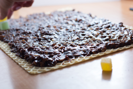 Chocolate topping with wallnuts on cake crust for rolled chocolate cake with jelly candies
