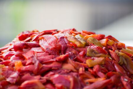 Cutted paprika for preparation of traditional slavic like ajvar and pindjur