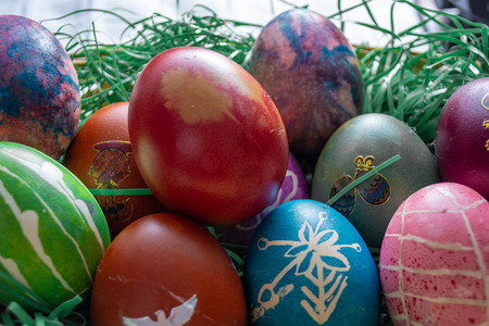 Easter eggs in the small basket. Ortodox easter Stock Photo