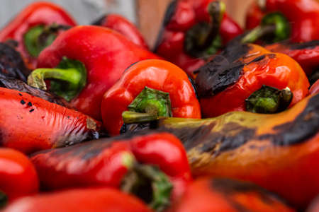 Cooking Ajvar made of tomatoes and paprika buy the old recepies