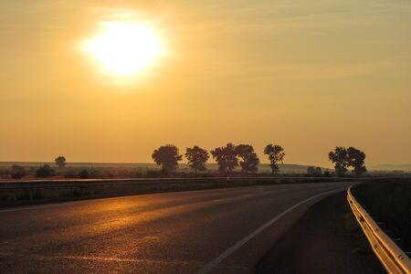 Road at the sunrise