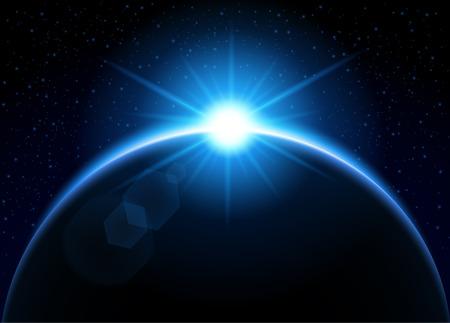rising sun: La promesa del sol detr�s del planeta Vectores