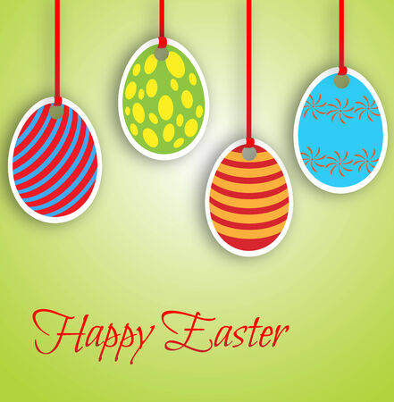 pendent: Happy Easter card with pendent eggs Illustration