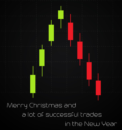 trading: Christmas card with trading graph Illustration
